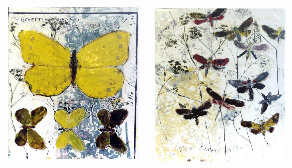 Fjärilar i emaljerad plåt 35x45